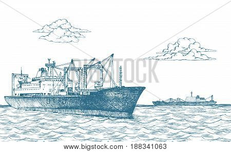 Cargo ship, reefer Baltic Forward. Vector illustration. Traced image. It can be used as background on the web site or in the design of postcards, leaflets and other printed products
