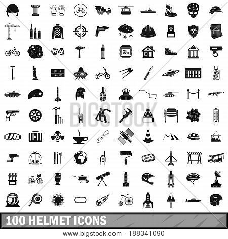 100 helmet icons set in simple style for any design vector illustration