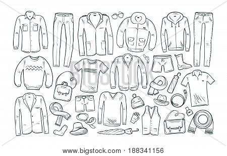 Fashion, shopping, boutique set icons. Collection of fashion men's clothing. Vector illustration isolated on white background