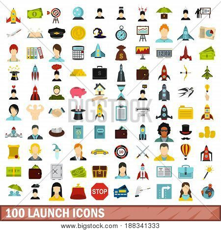 100 launch icons set in flat style for any design vector illustration