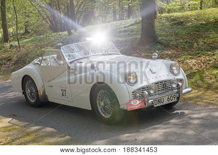 STOCKHOLM SWEDEN - MAY 22 2017: White Triumph Sport TR3A HT classic car from 1960 driving on a country road in the public race Gardesloppet in the forests at Djurgarden Stockholm Sweden. May 22 2017