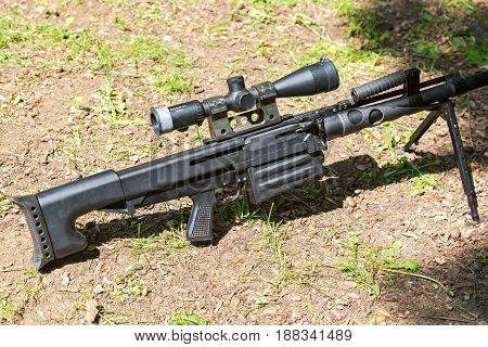 Samara Russia - May 27 2017: Russian automatic large caliber sniper rifle Cord with optic sight