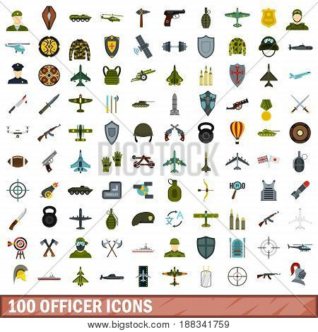100 officer icons set in flat style for any design vector illustration