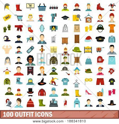 100 outfit icons set in flat style for any design vector illustration