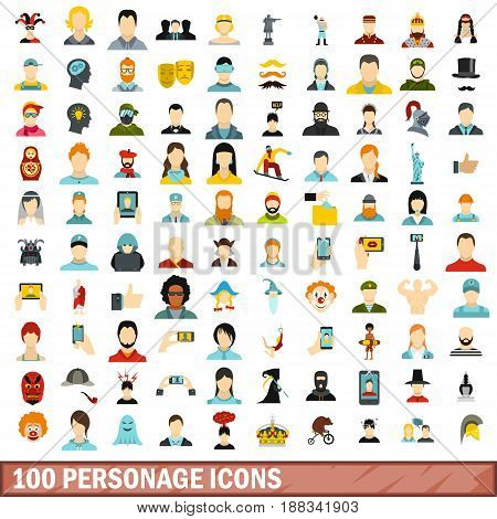 100 personage icons set in flat style for any design vector illustration