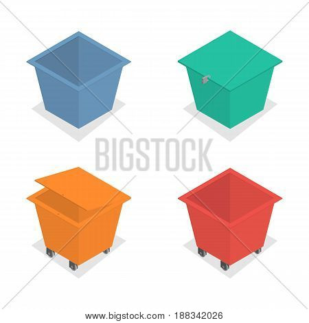 Set of metal container for garbage of different shapes isolated on white background. Flat 3d isometric style vector illustration.