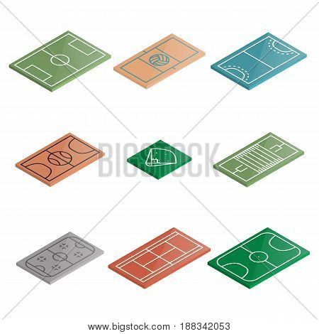 Set of icons playgrounds football soccer basketball baseball ice hockey volleyball handball and tennis. Design element of sports objects. Flat 3d isometric style vector illustration.
