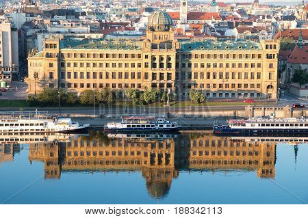 PRAGUE CZECH REPUBLIC - MAY 28 2017: The building of the Czech Ministry of Industry and Trade
