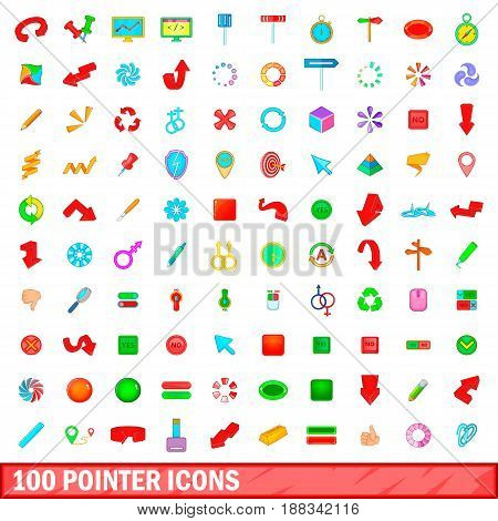 100 pointer icons set in cartoon style for any design vector illustration