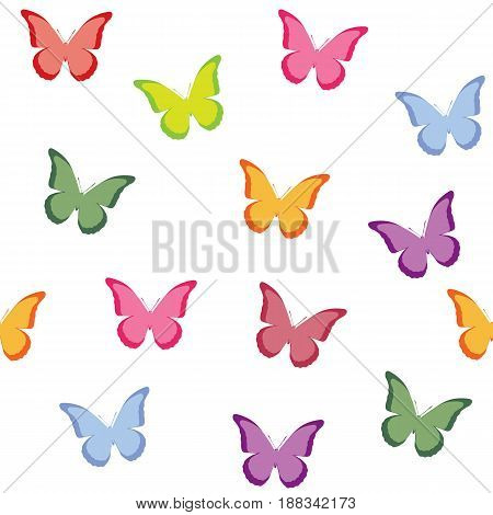 Seamless vector pattern with butterflies. Multi-colored butterflies on a white background