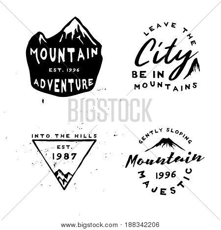 Vintage engraving labels on mountains theme. Inspired by great outdoors retro badges in minimal rough style. Vector