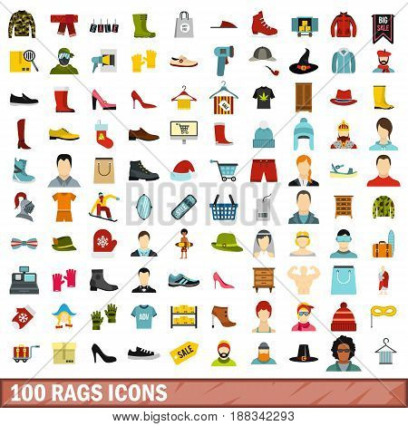 100 rags icons set in flat style for any design vector illustration
