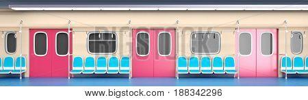 Train interior in flat cartoon style. 3d illustration