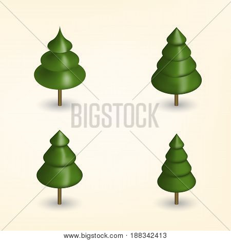 Green trees of various shapes isolated on white background. Elements for the design of the park forest and garden. 3D isometric style vector illustration.