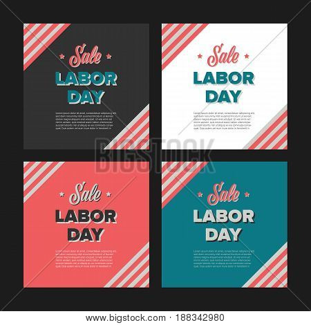 Labor day banners in vintage style with usa flag