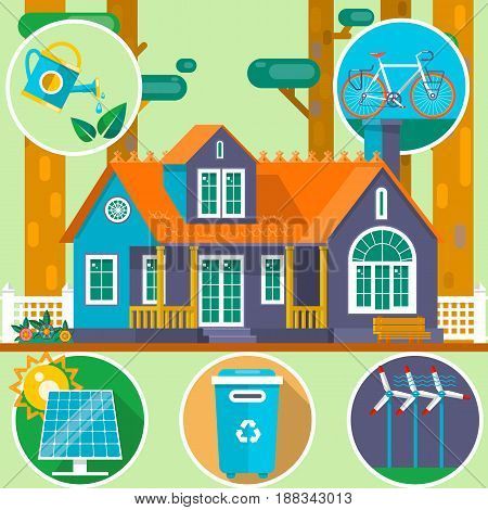 Ecological house in the forest. Clean Environment symbols. Summer landscape. House on the nature. Flat vector illustration