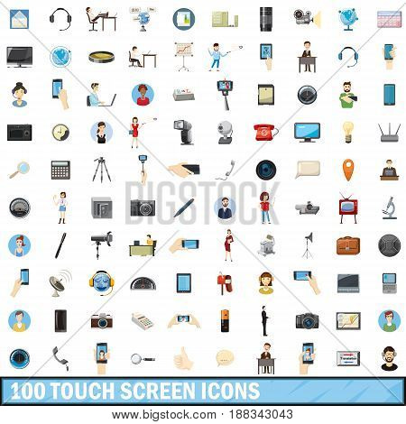 100 touch screen icons set in cartoon style for any design vector illustration