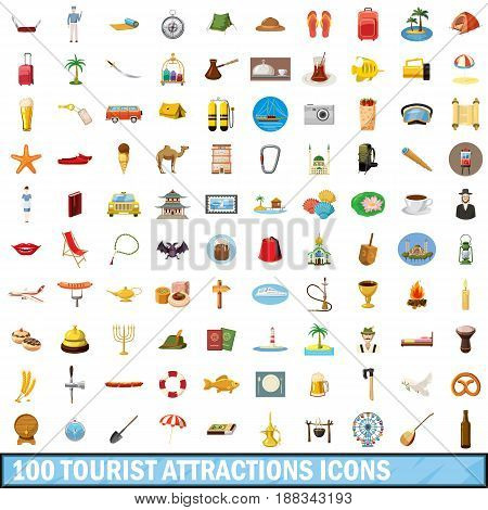 100 tourist attractions icons set in cartoon style for any design vector illustration