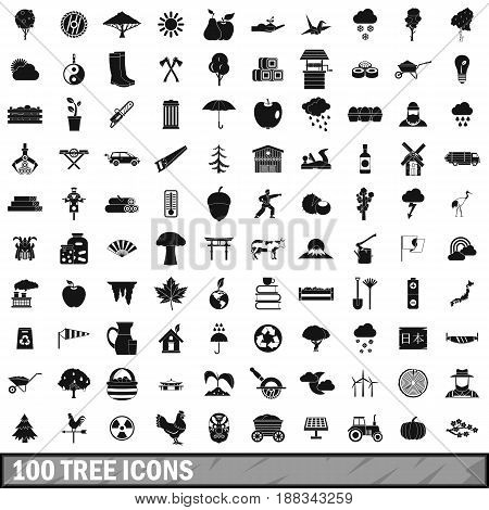 100 tree icons set in simple style for any design vector illustration