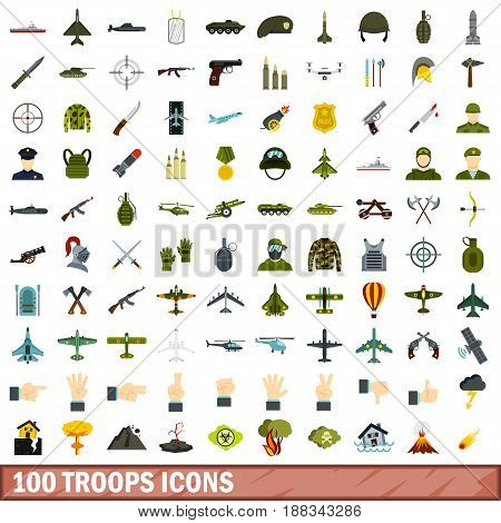 100 troops icons set in flat style for any design vector illustration