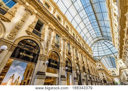 MILAN, ITALY - MAY 16, 2017: The Galleria Vittorio Emanuele II on the Piazza del Duomo. This gallery is one of the world's oldest shopping malls.