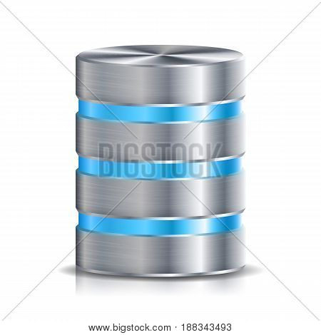 Network Database Disc Icon Vector Set. Realistic Illustration Of Computer Hard Disk.