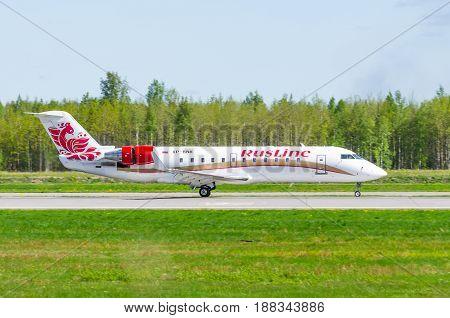 Bombardier Crj-200 Rusline, Airport Pulkovo, Russia Saint-petersburg May 2017.