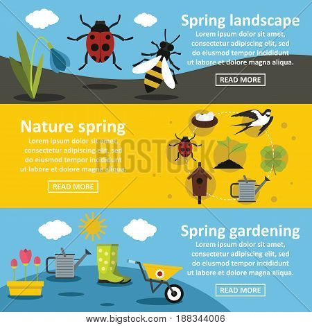 Spring nature banner horizontal concept set. Flat illustration of 3 spring nature vector banner horizontal concepts for web