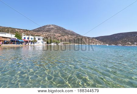SIFNOS GREECE, AUGUST 22 2016: Vathi beach at Sifnos island Cyclades Greece. Editorial use.