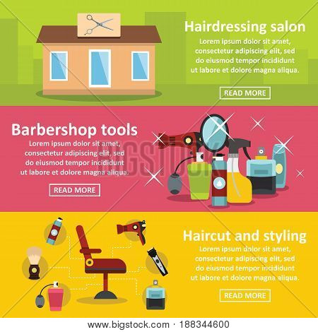 Hairdressing banner horizontal concept set. Flat illustration of 3 hairdressing vector banner horizontal concepts for web