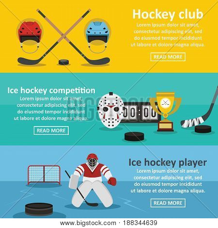 Hockey banner horizontal concept set. Flat illustration of 3 hockey vector banner horizontal concepts for web