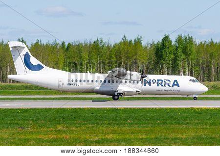 Atr 72 Norra Airlines, Airport Pulkovo, Russia Saint-petersburg May 2017.