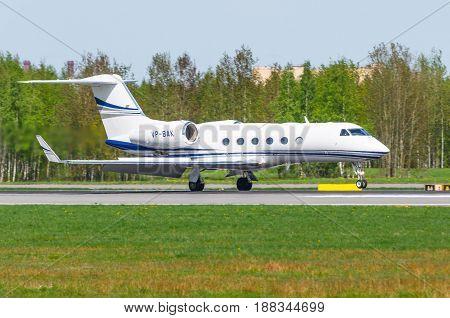 Gulfstream G450 Meridian Air, Airport Pulkovo, Russia Saint-petersburg May 2017.