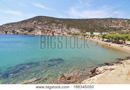 SIFNOS GREECE, AUGUST 23 2016: landscape of Faros beach at Sifnos island Cyclades Greece. Editorial use.