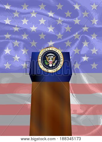 A depiction of the seal of the president of the United States of America with podium and Flag as in State of the Union speech