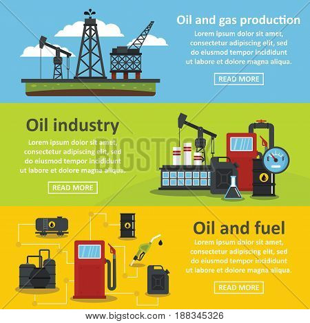 Oil industry gas banner horizontal concept set. Flat illustration of 3 oil industry gas vector banner horizontal concepts for web.
