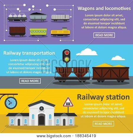 Railway station banner horizontal concept set. Flat illustration of 3 railway station vector banner horizontal concepts for web.