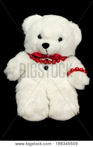 Cute Teddy Bear On Black Background. Child Love Present.