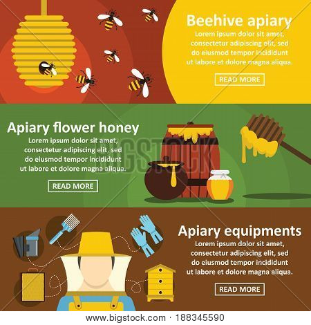 Apiary honey banner horizontal concept set. Flat illustration of 3 apiary honey vector banner horizontal concepts for web.