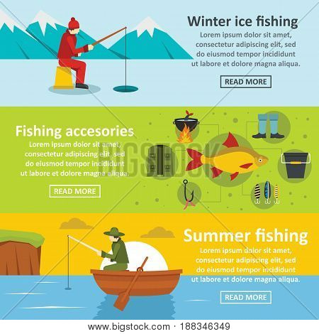 Fishing tools banner horizontal concept set. Flat illustration of 3 Fishing tools vector banner horizontal concepts for web.