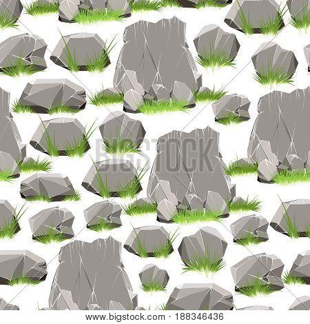 Cartoon style stones with grass seamless pattern. Vector illustration
