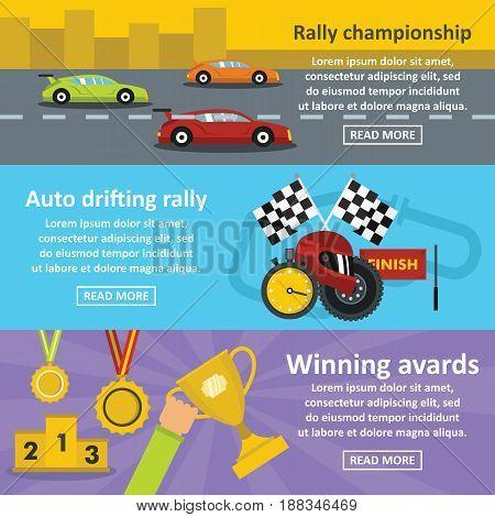 Racing auto banner horizontal concept set. Flat illustration of 3 racing auto vector banner horizontal concepts for web.