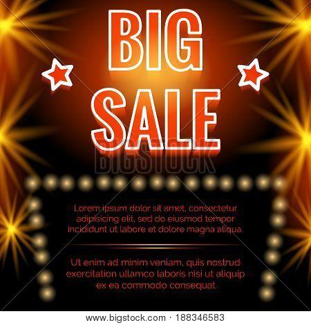 Shining big sale poster design with black backdrop. Vector illustration
