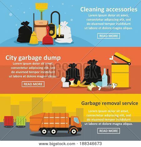 Garbage service banner horizontal concept set. Flat illustration of 3 garbage service vector banner horizontal concepts for web.