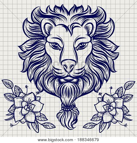 Hand drawn lion sketch with flowers on notebook page. Vector illustration