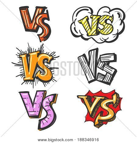 Hand drawn versus or VS confrontation vector illustration. Colorful cartoon VS labels on white background