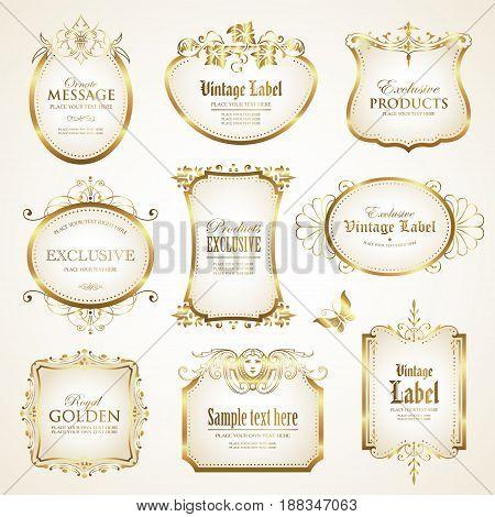 White gold - framed labels - vector set