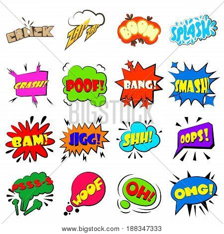 Comic bubbles icons set. Cartoon illustration of 16 comic colored bubbles vector icons for web