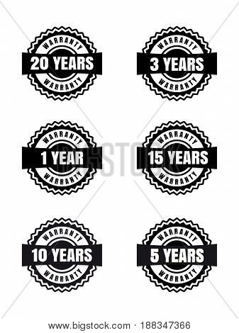 Black and white warranty labels set isolated on white background. Vector illustration