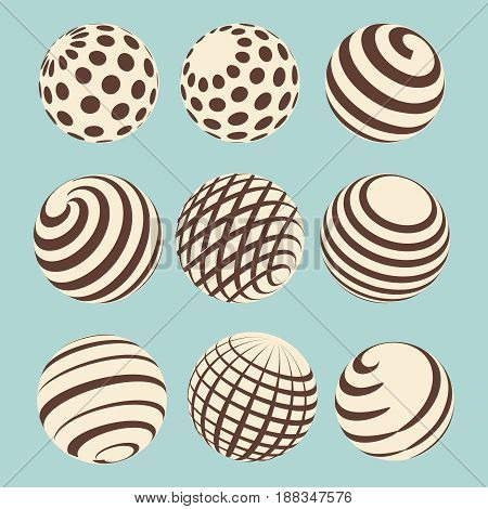 Halftone abstract spheres design with linear and dotted onament. Vector vintage beans icons on blue background
